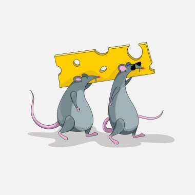 Two rats carry a piece of cheese.