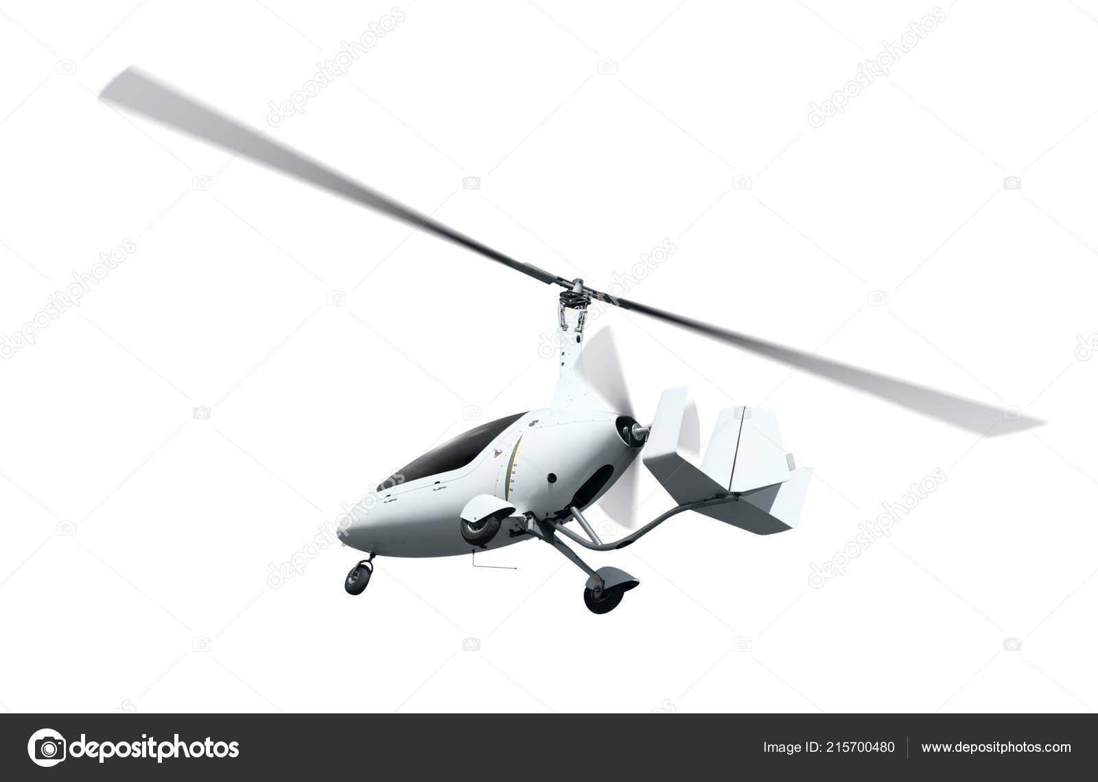 Autogyro Flight Rotating Propellers Isolated Ower White Background
