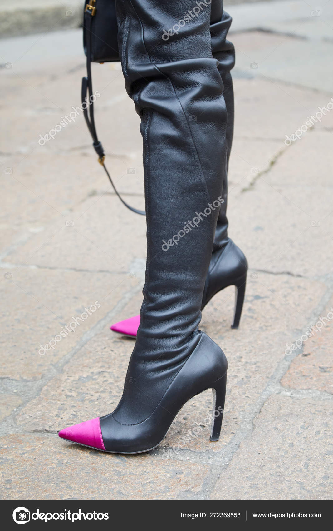 High Boots Black Leather With Heels Point Woman And Purple uXkZPi