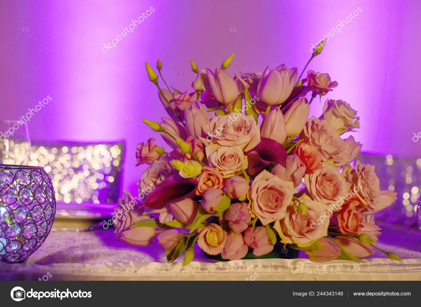 Classy Floral Arrangement Pastel Pink Hues Bouquet Featuring Pink Roses —  Stock Photo © AnaIacobPhotography #244343148