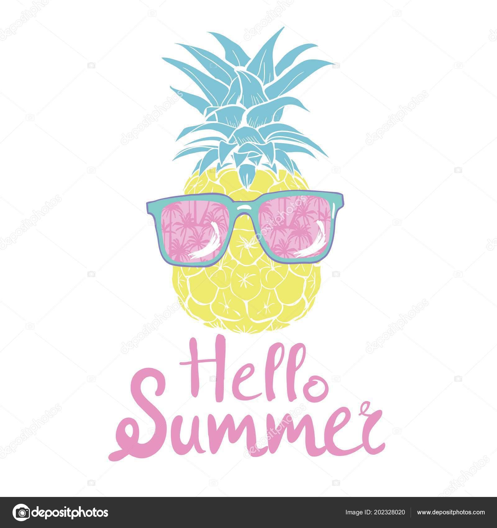 cb86ac10b157 Pineapple Glasses Tropical Vector Illustration Design Exotic Food ...