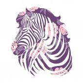 Fotografie Logo mit dem Kopf eines Zebras. Flaches Zebra-Porträt für Karte, Plakat, Einladung, Buch, Poster, Notizbuch, Skizzenbuch.
