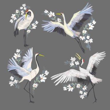 Embroidery with crane bird. Fashion decoration.