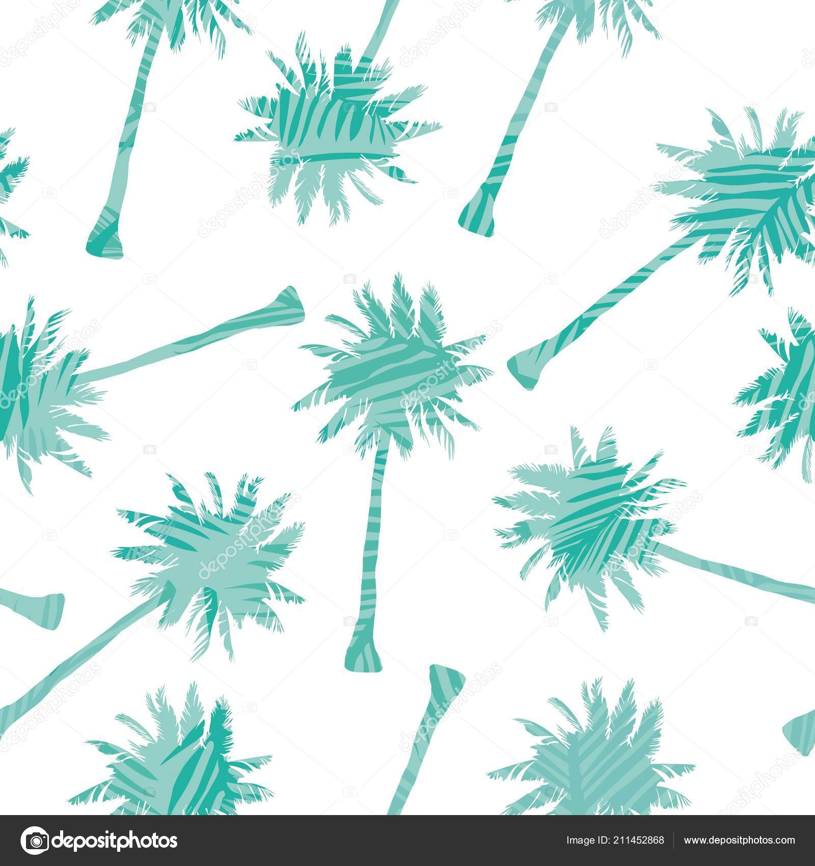 Palm Tree Pattern Seamless Hand Drawn Textures Exotic Trendy