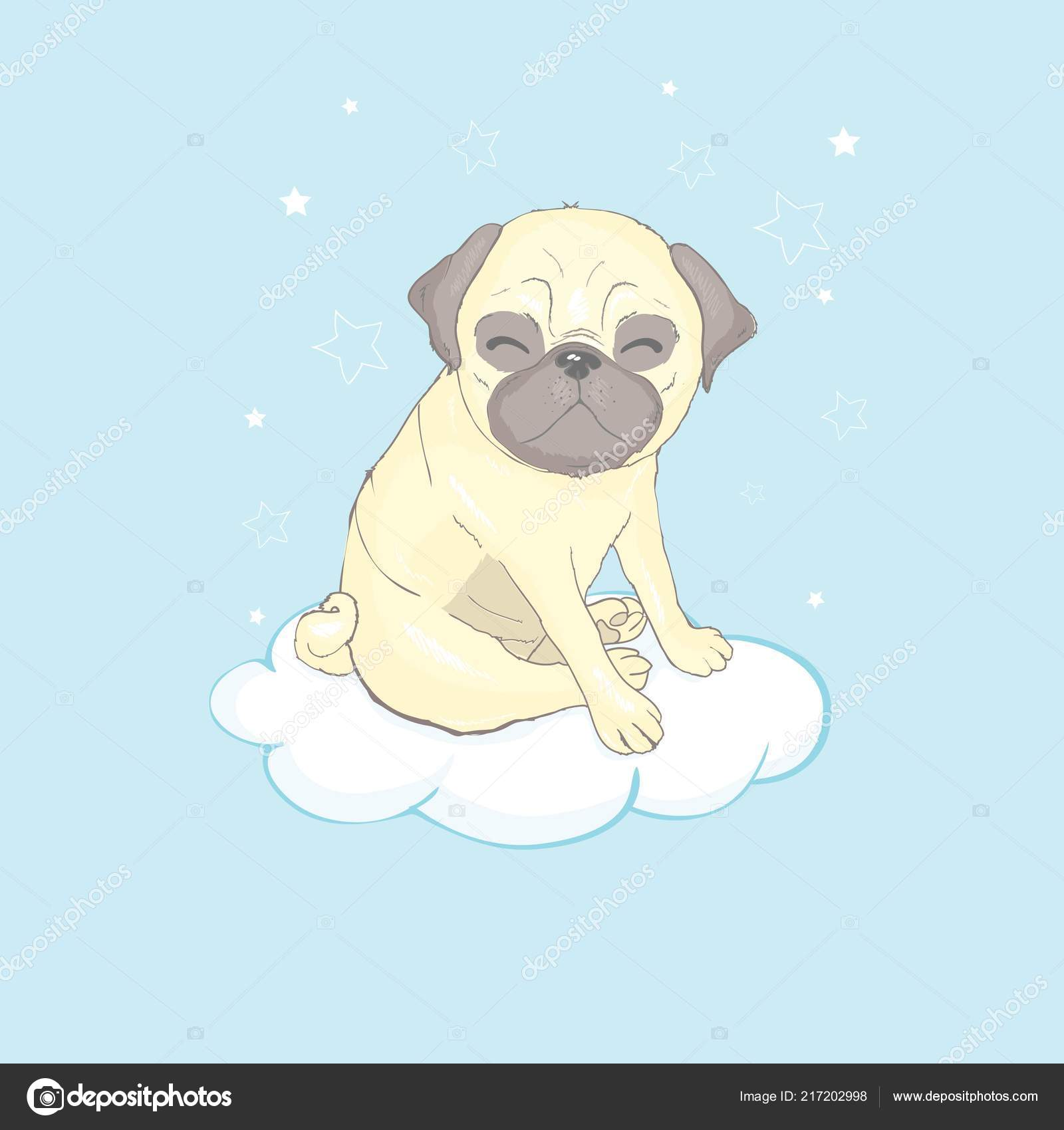 Illustrazione cartone animato cane pug cane carino elemento design