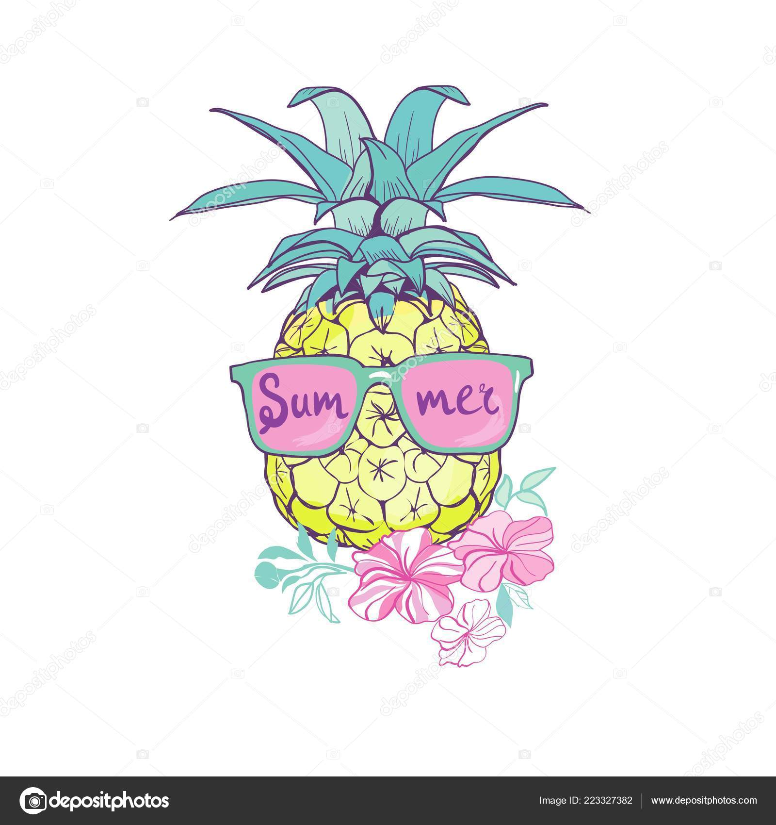 dbcd9903bc1f Pineapple Glasses Design Exotic Background Food Fruit Illustration Nature  Pineapple — Stock Vector