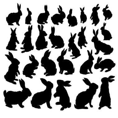 Rabbit Set, Isolated On White Background, bunny silhouette.