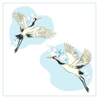 Set of birds. Crane, stork, heron. Vector.