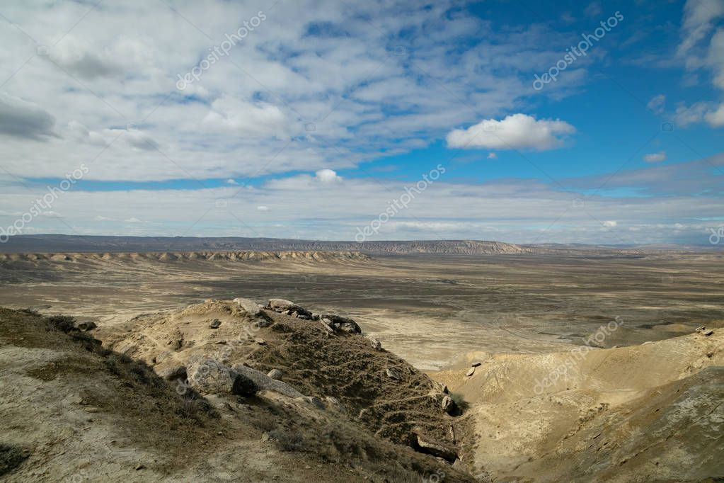 Plains and mountains of Gobustan national Park.
