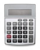 Stříbrná kalkulačka s prázdnou obrazovkou izolovaná na bílém