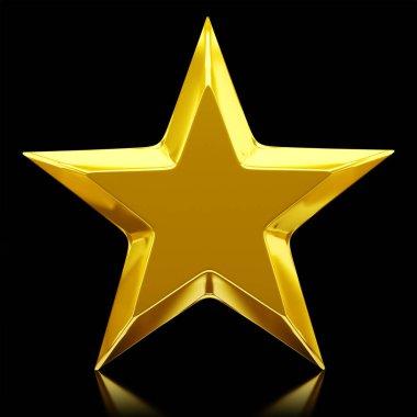 Shiny golden star - 3d rendering stock vector