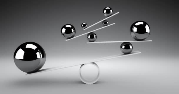 Balance concept. Silver spheres rolling back and forth slowly balancing. 3d render