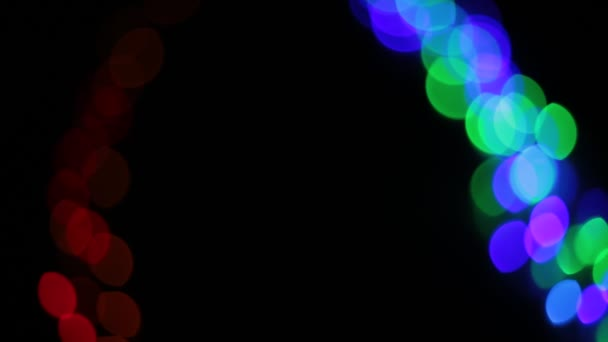 sfondo di luci bokeh a forma di cerchi multicolore diversi lucentezza brillante e lampadine lampeggiano