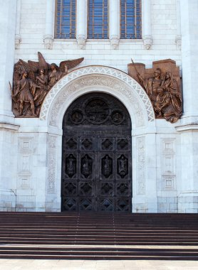 Sculptural composition over the gates of the Cathedral of Christ the Savior. Moscow