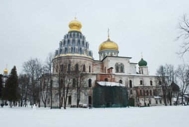 Resurrection Cathedral of the new Jerusalem monastery. Winter landscape. City Istra. Moscow region. Russia.
