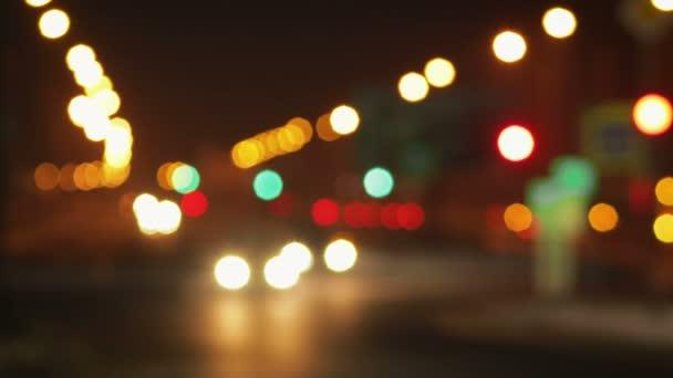 Panoráma města světel večer rozostřené pozadí, bokeh