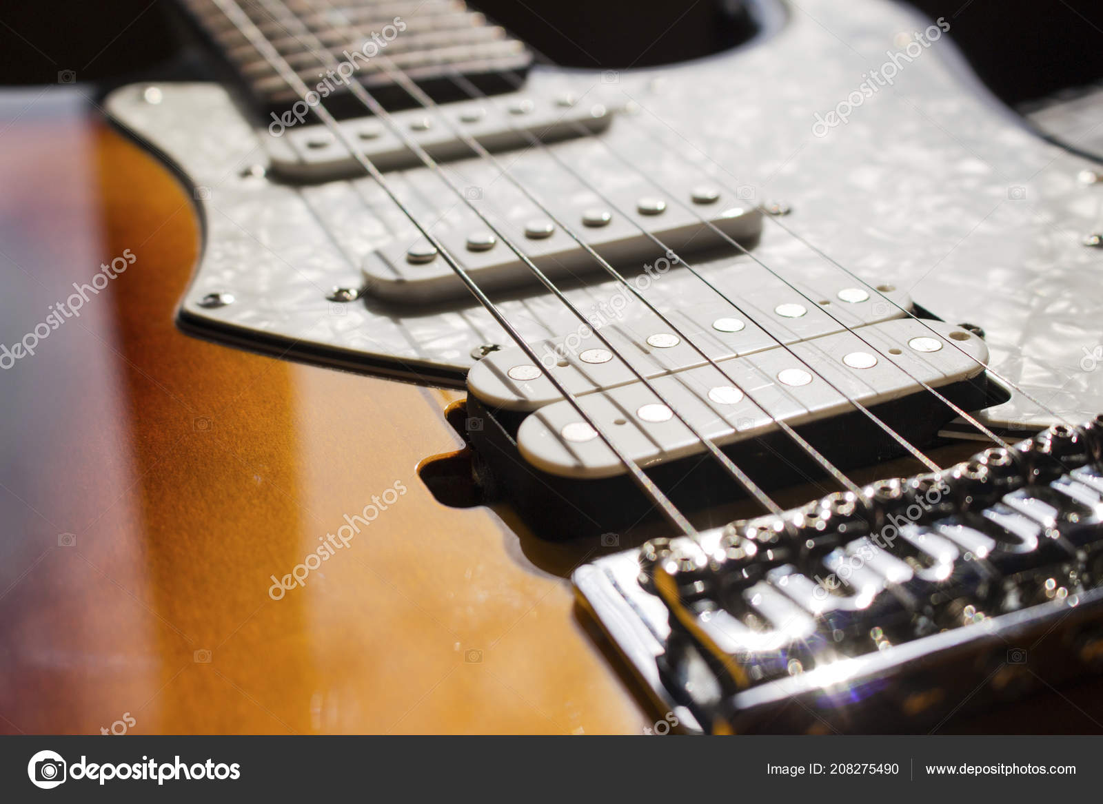 Pickups Electric Guitar Strings Closeup Stock Photo C Granevsergey