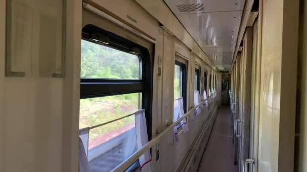 Prázdné vlakové auto, jízda v prázdném autě, pohled z oken zelených keřů a stromů.