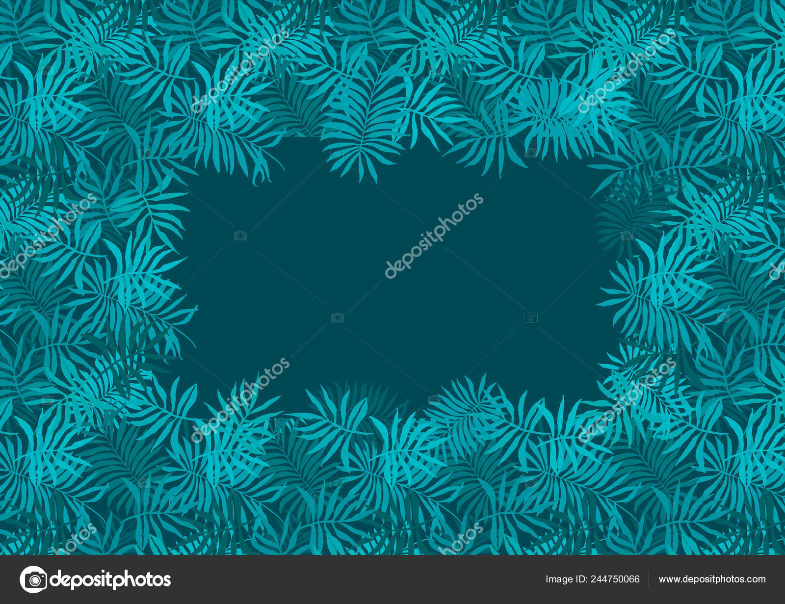 Deep Emerald Green Frame Of Fern Tropical Leaves Stock