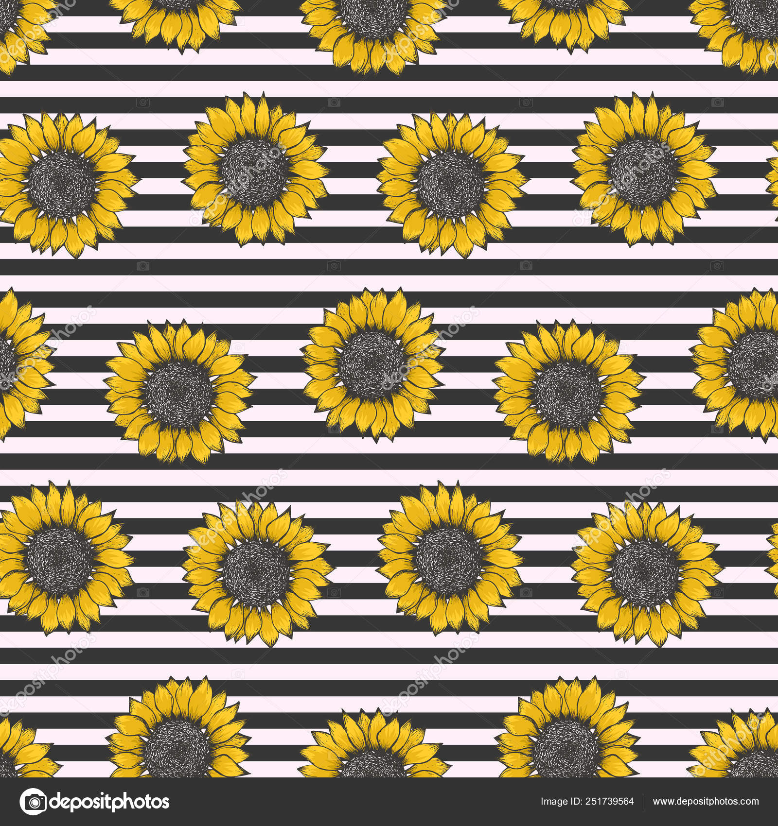 depositphotos 251739564 stock illustration hipster pattern with sunflowers on