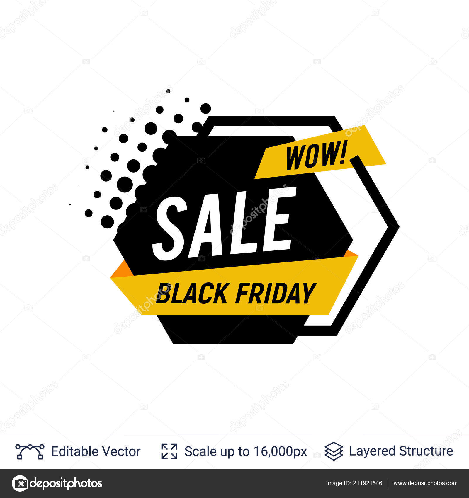 Black Friday Sale Badge  Geometric shapes and text — Stock Vector