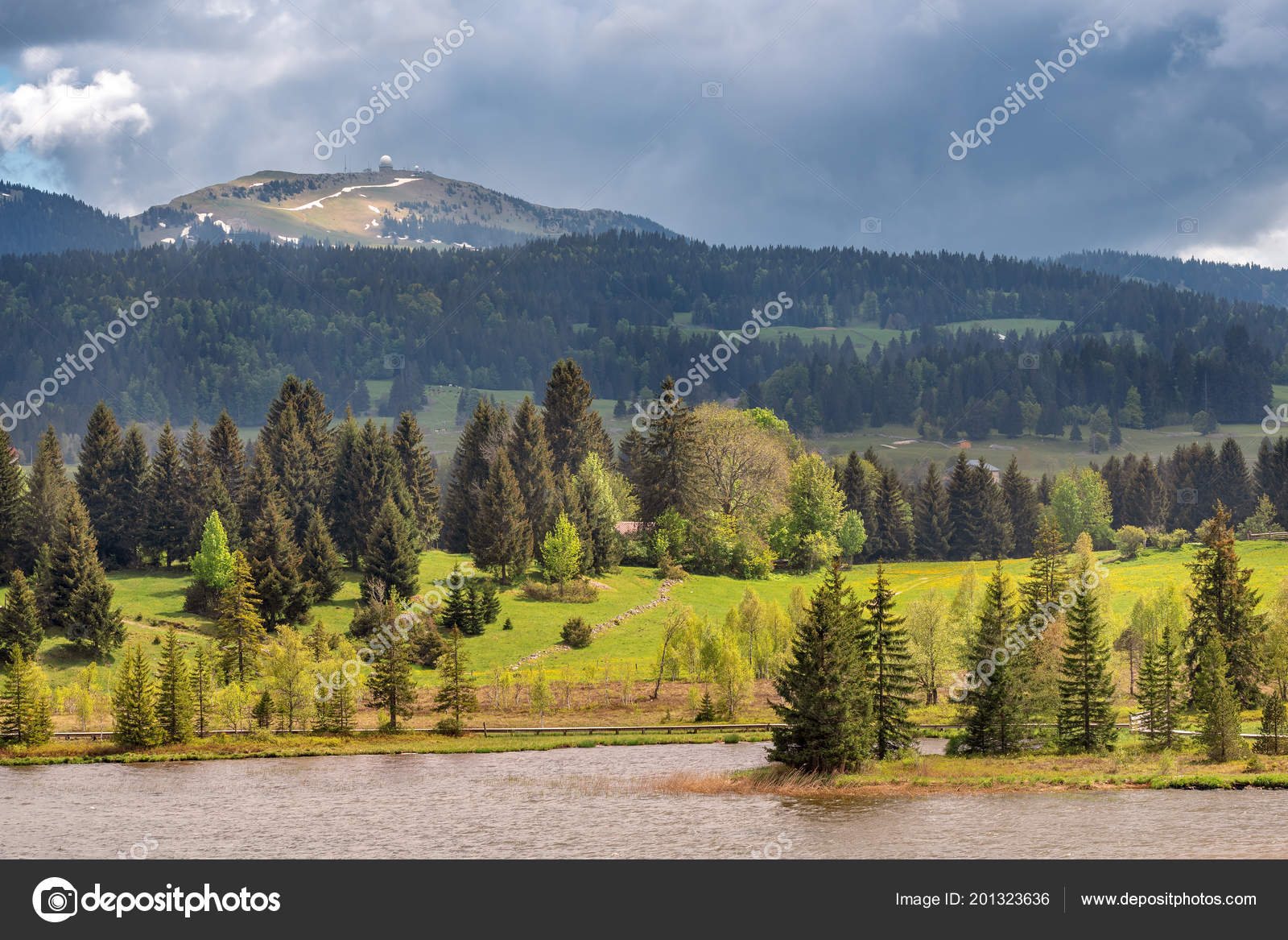 French Landscape Jura View Lake Les Rousses Jura Mountains France Stock Photo C Info Photogranary Com 201323636
