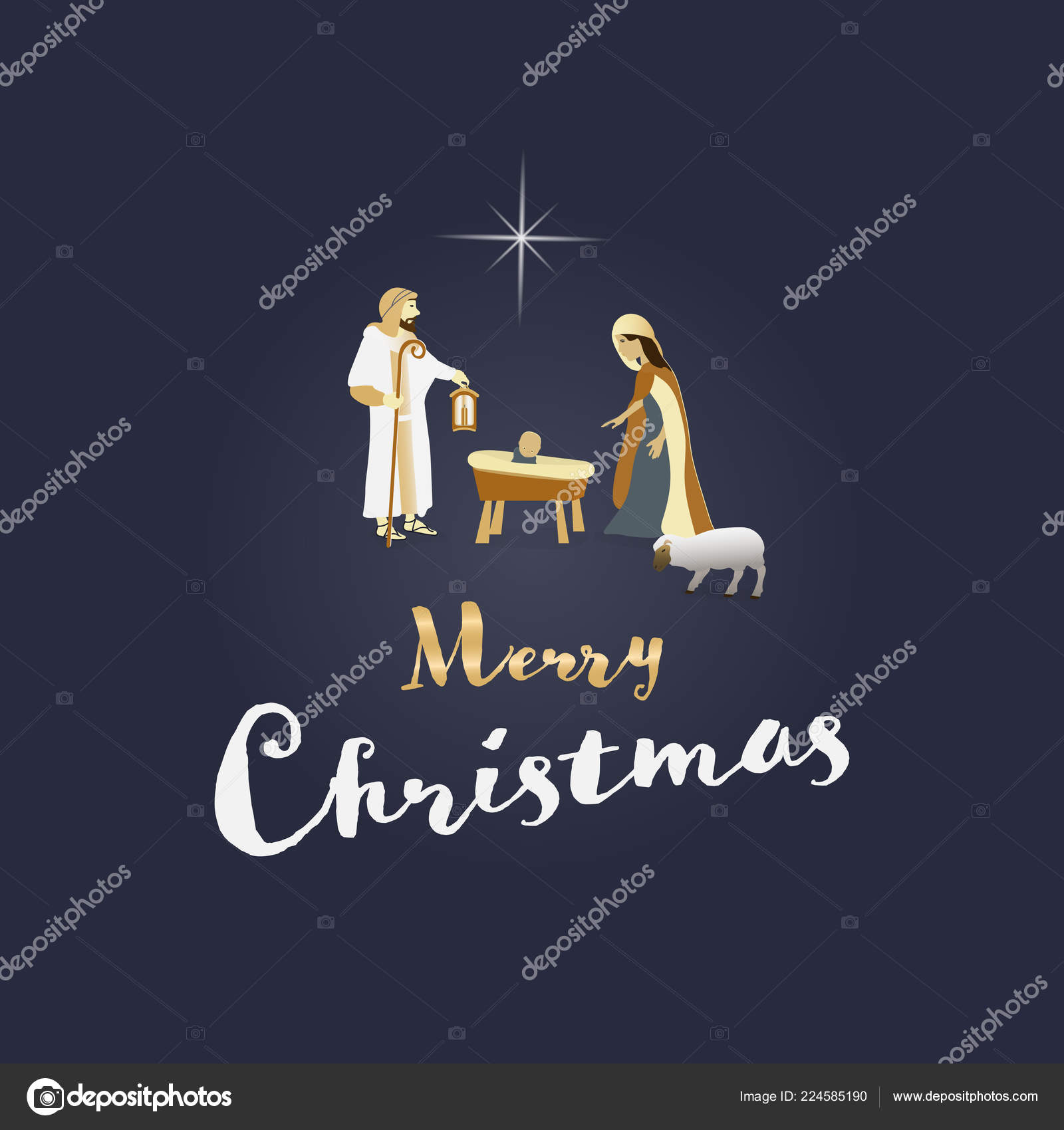 Christmas Time Nativity Scene Mary Joseph Baby Jesus Text Merry ...