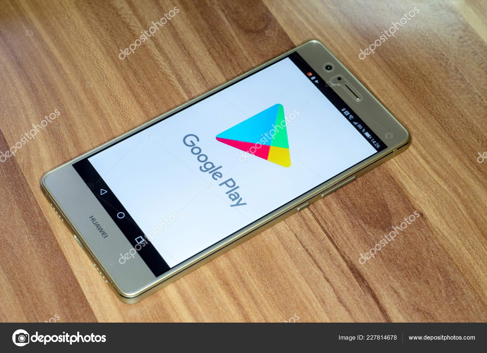 Soest Germany January 2018 Google Play Logo Screen Huawei