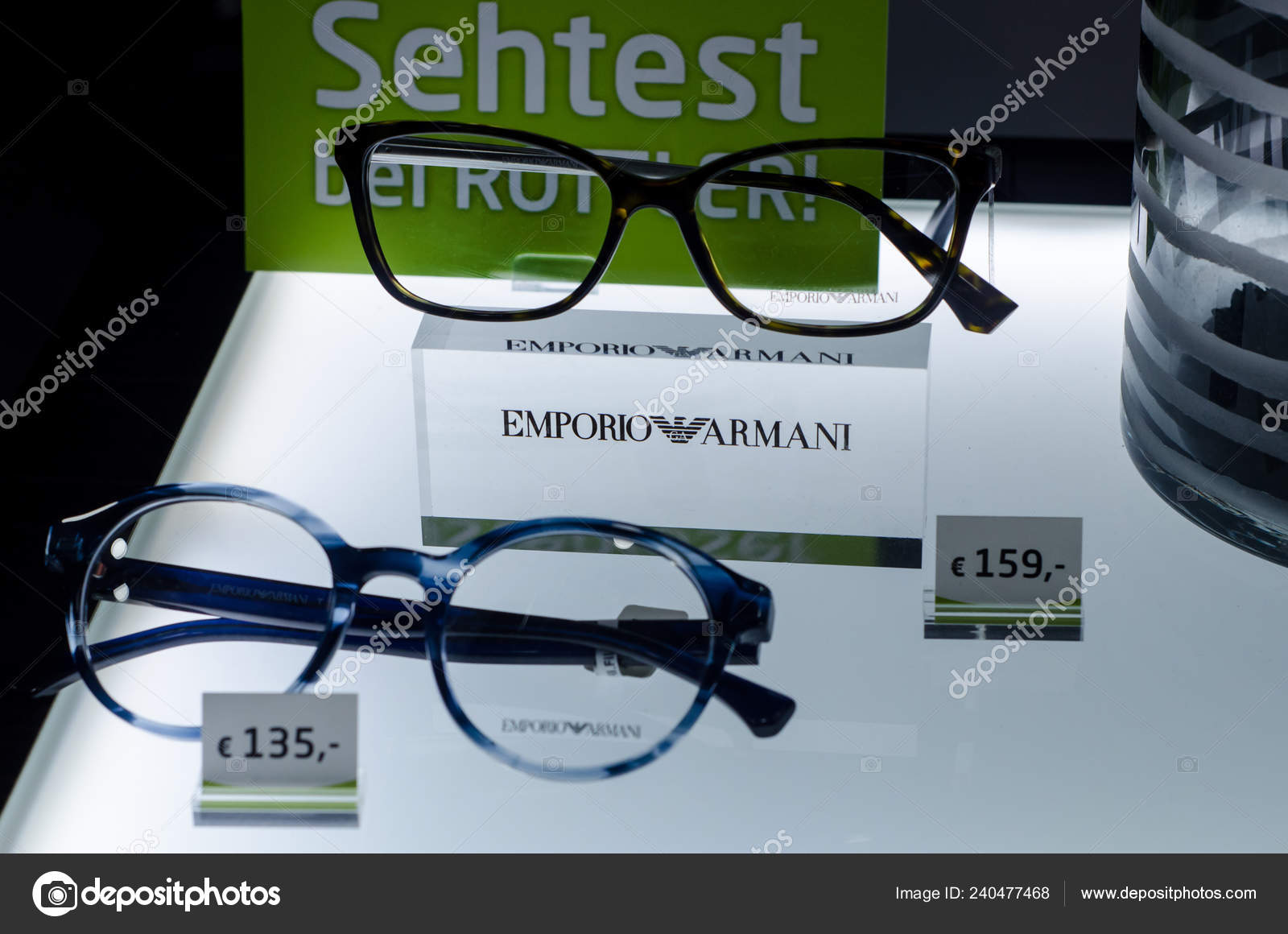 8700f90e805d Soest Germany January 2019 Emporio Armani Glasses Shop Window — Stock Photo
