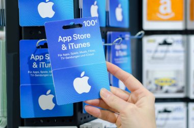 Soest, Germany - January 8, 2019: App Store & iTunes Gift Cards for sale in the shop.