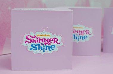 Kyiv, Ukraine - January 27, 2019: Shimmer and Shine Nickelodeon logo on box.