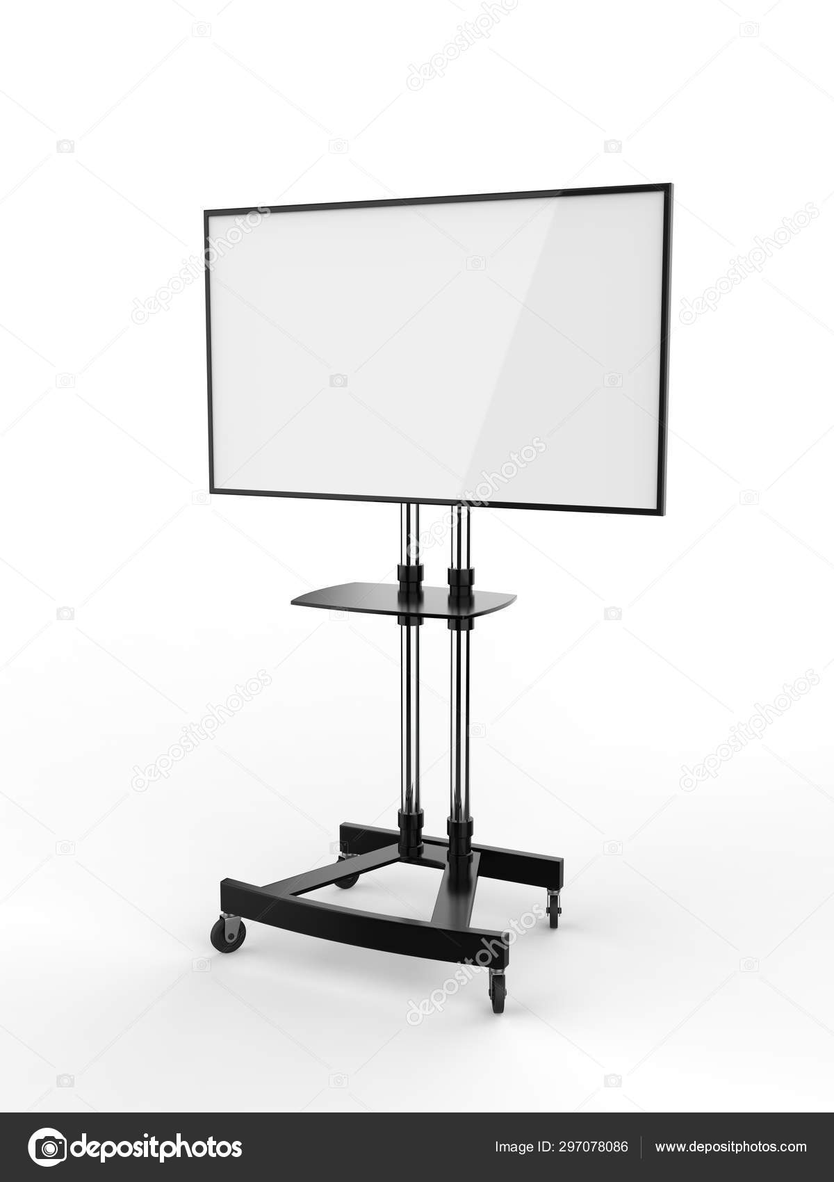 Mobile Blank White Screen Trolley Stand Mount Cart