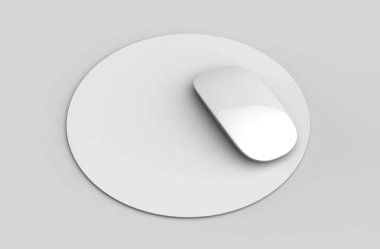 Circular Blank mouse pad with computer mouse for branding or design presentation. 3d render illustration.