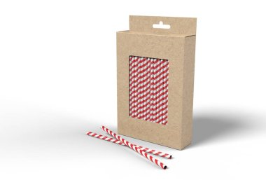 Hanging blank straw packaging box with hang tab box for mock up and presentation. 3d render illustration.