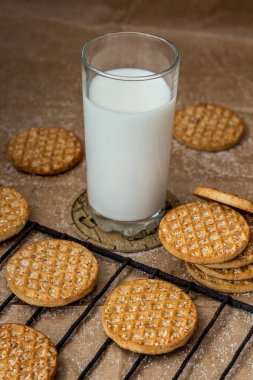 Delicious cookies and a glass of milk