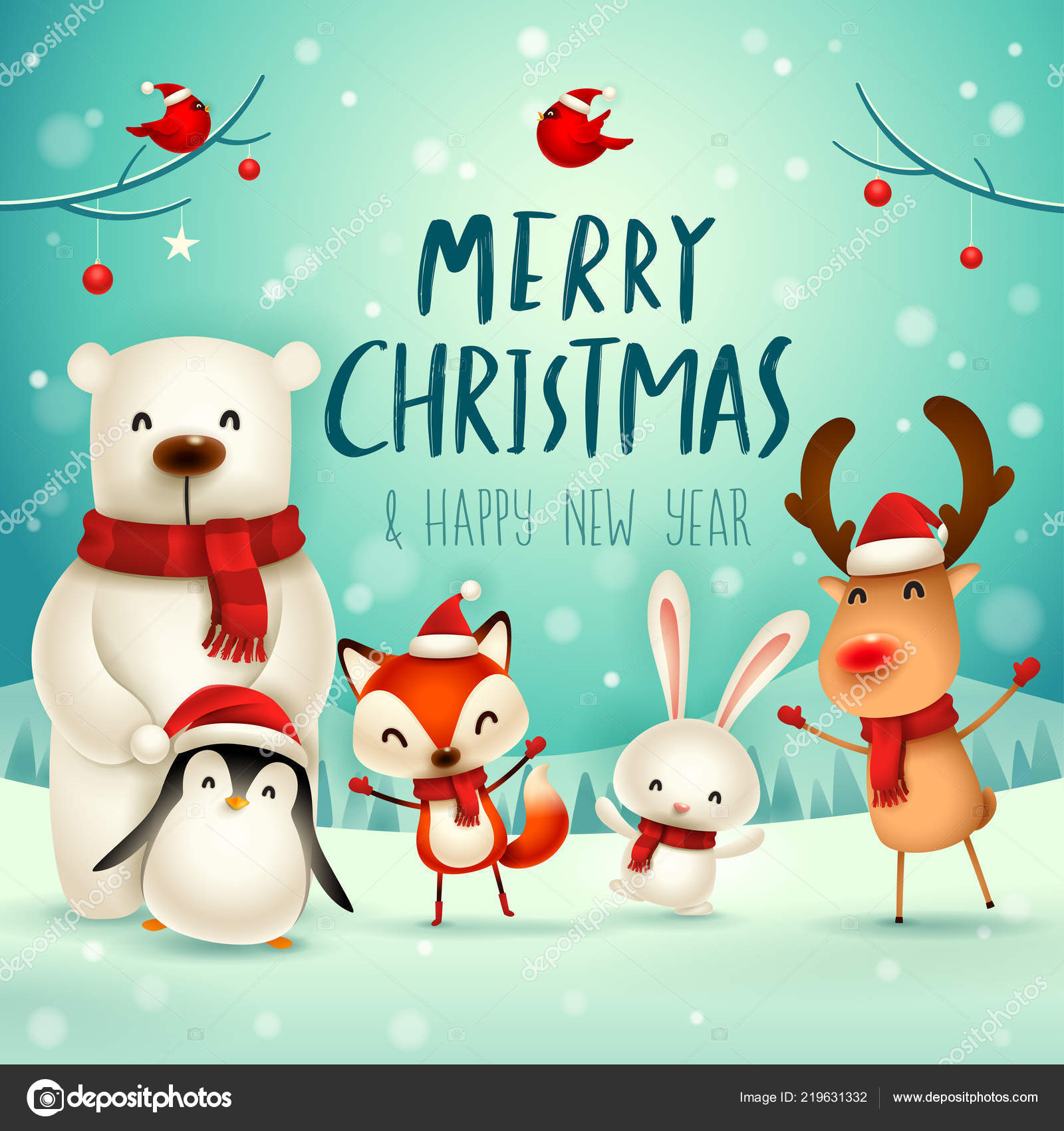 Merry Christmas Animals.Merry Christmas Happy New Year Christmas Cute Animals Character