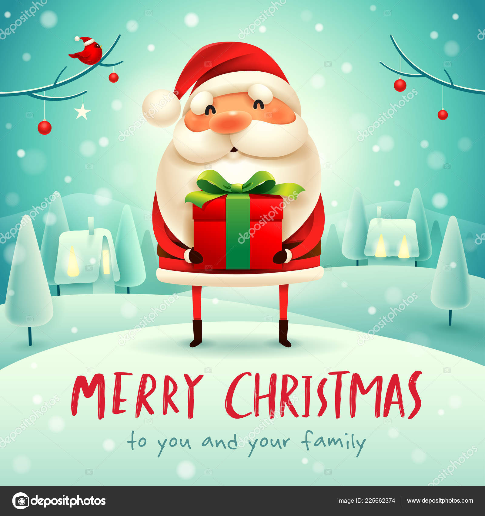 Merry Christmas Santa Claus Gift Present Christmas Snow Scene Winter ...