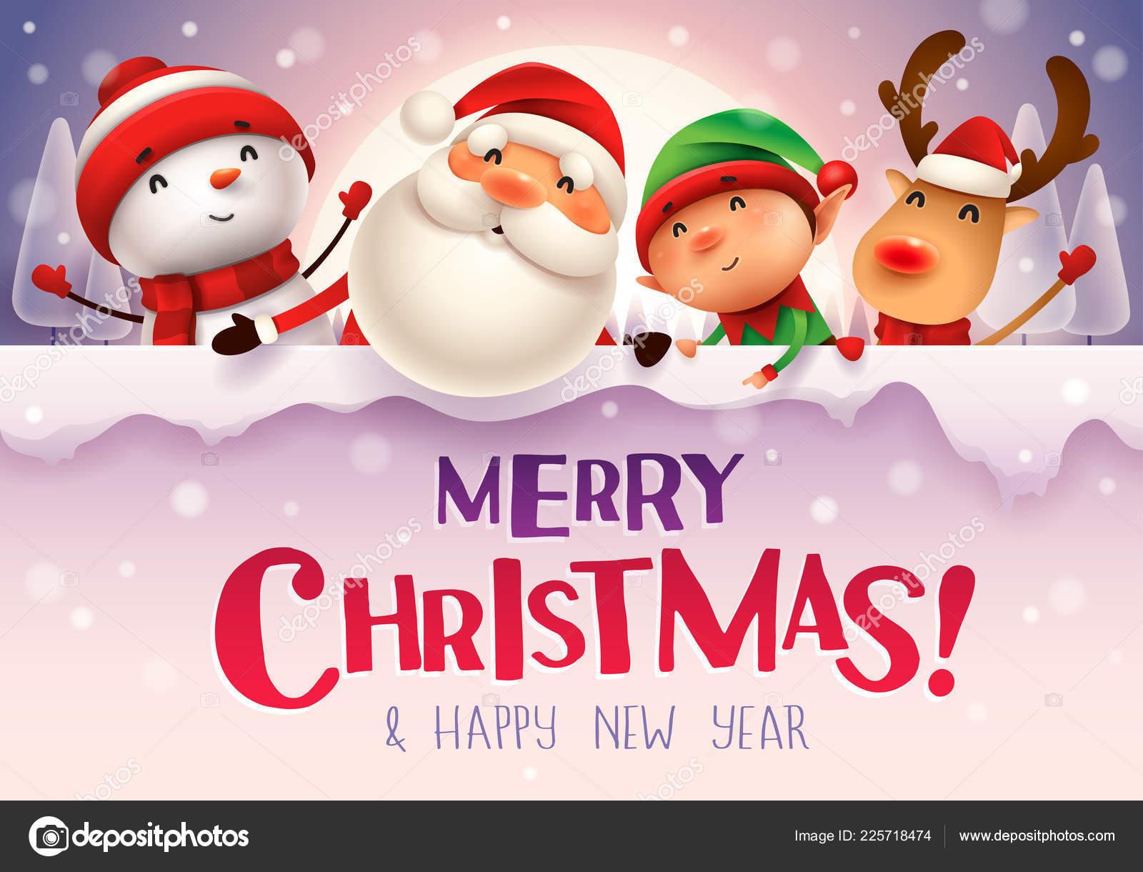 Frohe Weihnachten Glückliches Weihnachten Begleiter Mit Großen ...