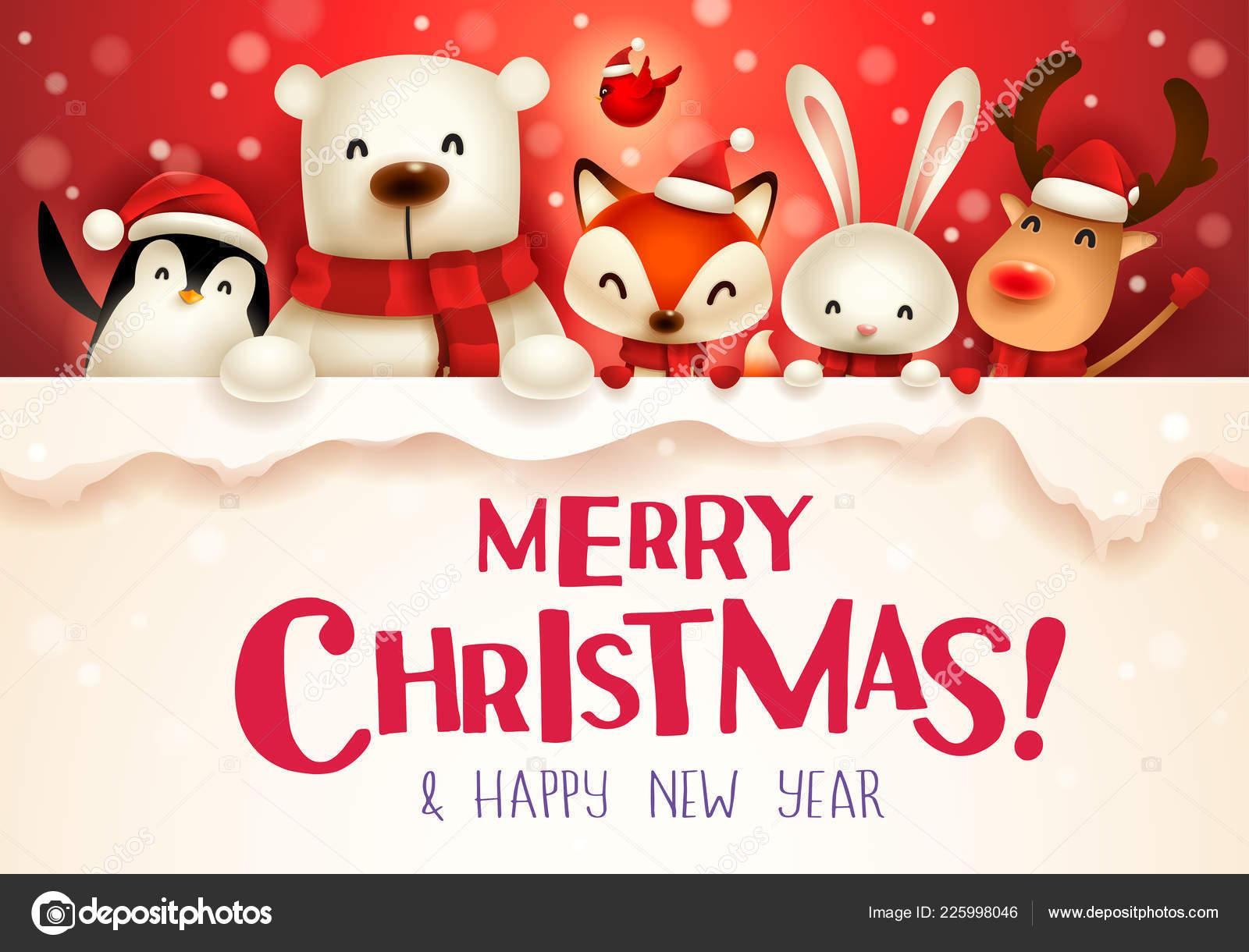 Vettore Buon Natale Con Cagnolini Buon Natale Carattere