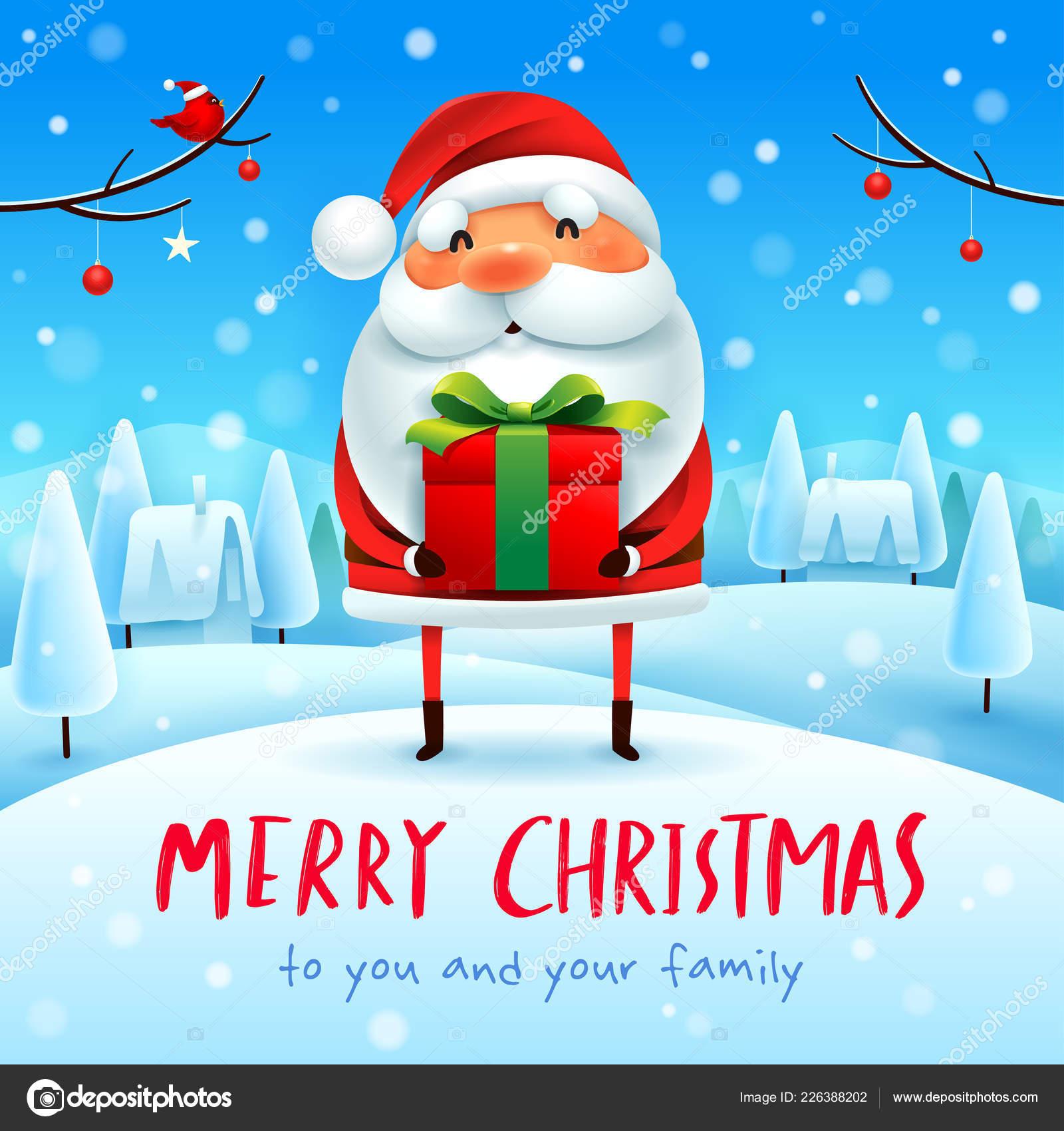 Merry Christmas Santa Claus Gift Present Snow Scene Winter Stock Vector