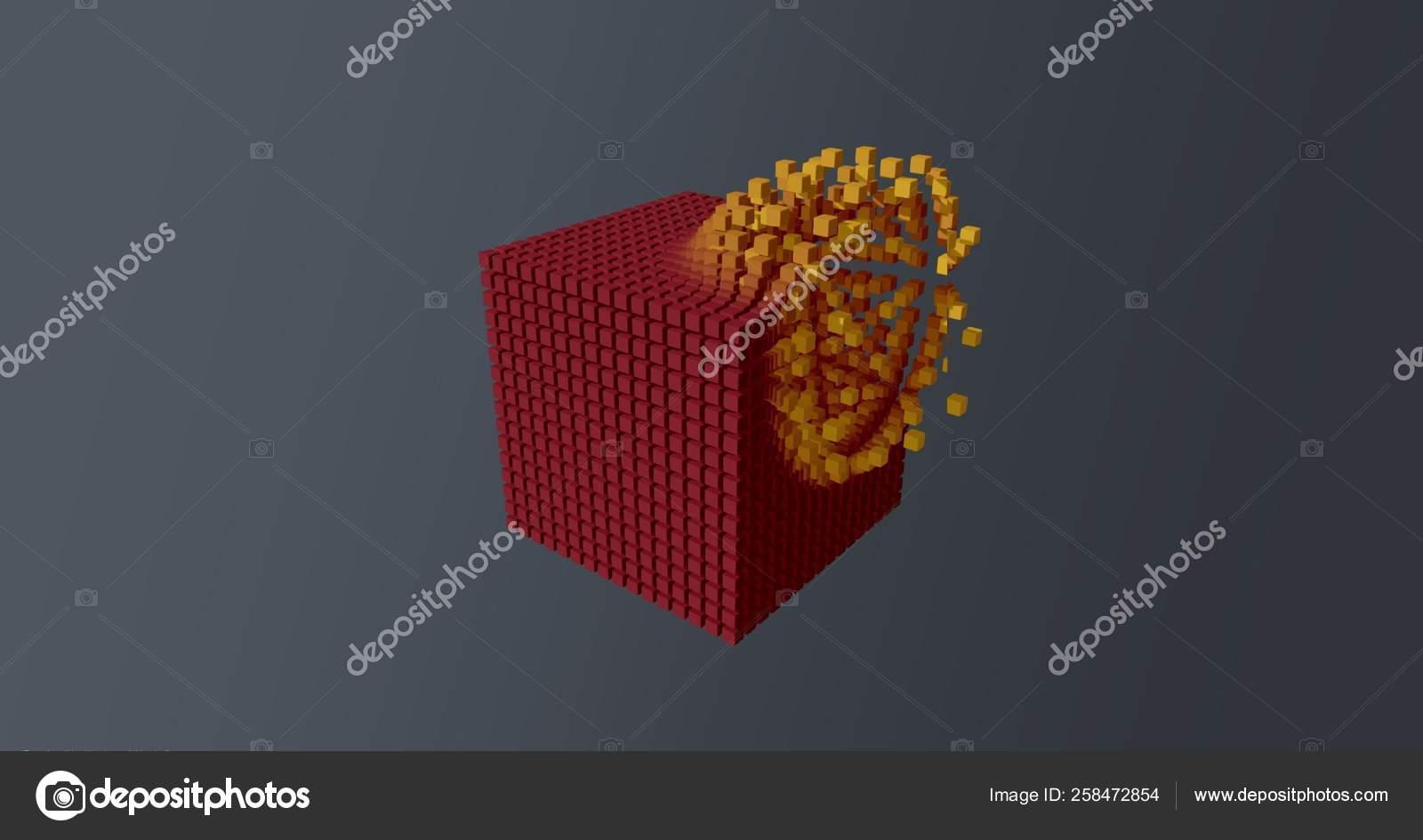 抽象壁纸背景爆炸红色立方体黄色颗粒蓝色 图库照片 C Mvdberk 258472854