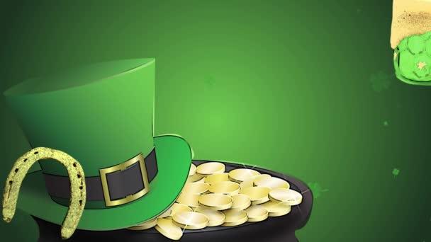 St Patricks den animace, jetel lístečky, v pozadí s skřítek chýše, podkovy a zelené pivo, kreslený