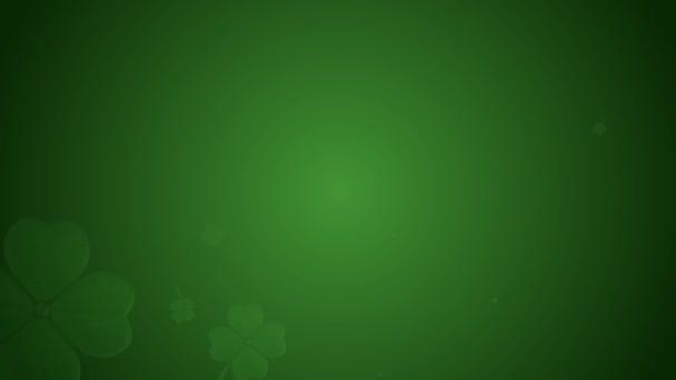 St Patricks den animace, jetel lístečky, otáčení na zeleném pozadí