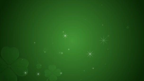 St Patricks den animace, jetel lístečky, otáčení na zeleném pozadí se leskne