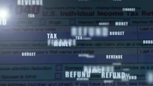 1040 formulář daňového přiznání náhrady se slovy vyskakování nad ním