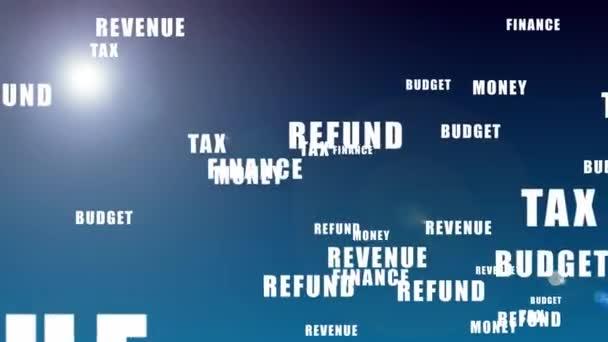 Steuertagskonzept - Worte, die vor blauem Hintergrund auftauchen