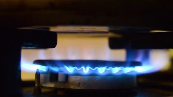 Plamenný plynový sporák. Modré plameny plynu v plynové sporáku. Oheň na sporáku v tmavém.