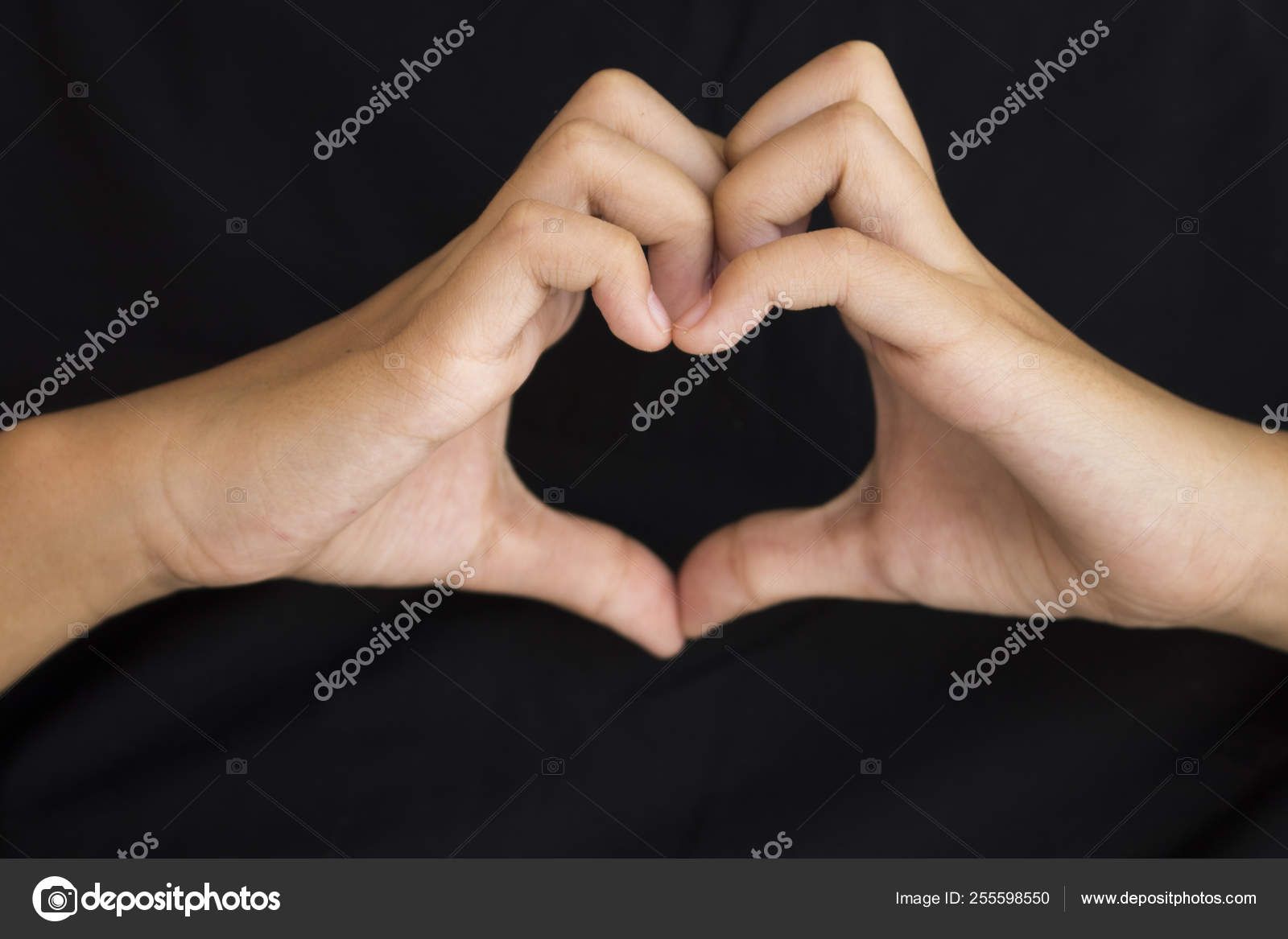 Love You Hand Girl Symbol Gesture Heart Send Love Background Stock Photo C Phenphayom 255598550