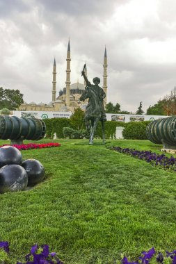 EDIRNE, TURKEY - MAY 26, 2018:  Selimiye Mosque and monument of Ottoman Sultan Mehmed II (Mehmed The Conqueror) in city of Edirne,  East Thrace, Turkey