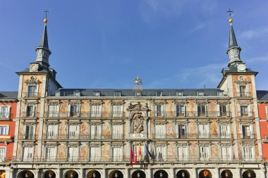 MADRID, SPAIN - JANUARY 23, 2018: Old Building at Plaza Mayor in city of Madrid, Spain